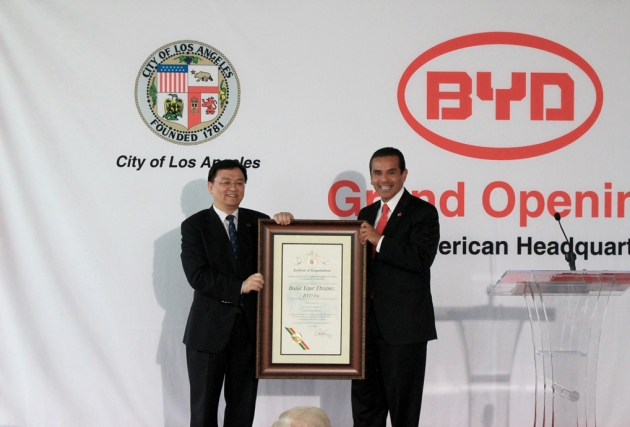 LA Mayor to give Certificate of Congratulations to BYD Chairman Wang